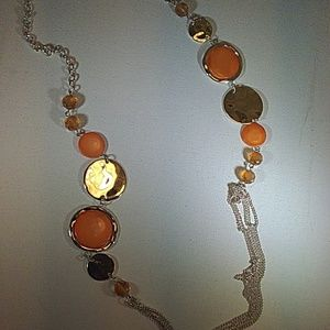 Kenneth Cole orange and silver necklace